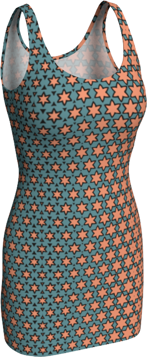 The Denise Fitted Dress in Coral and Teal