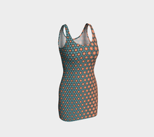 Load image into Gallery viewer, The Denise Fitted Dress in Coral and Teal-Clash Patterns