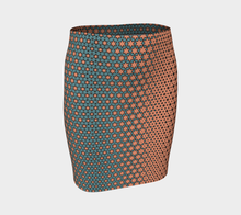 Load image into Gallery viewer, The Denise Fitted Skirt in Coral and Teal-Clash Patterns