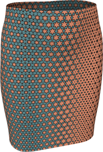 The Denise Fitted Skirt in Coral and Teal