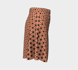 The Denise Flare Skirt in Coral and Teal-Clash Patterns