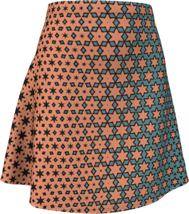 The Denise Flare Skirt in Coral and Teal