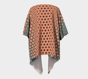 The Denise Kimono in Coral and Teal-Clash Patterns