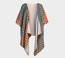 Load image into Gallery viewer, The Denise Kimono in Coral and Teal-Clash Patterns
