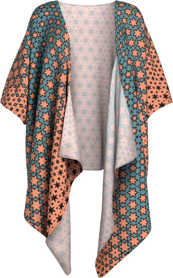 The Denise Kimono in Coral and Teal