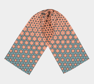 The Denise Long Scarf in Coral and Teal