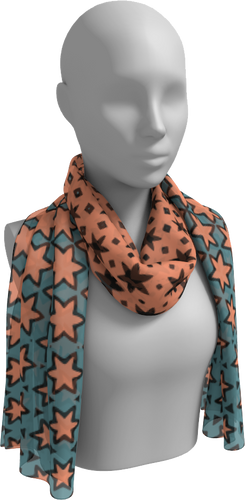The Denise Long Scarf in Coral and Teal-Long Scarf-Clash Patterns by Jennifer Akkermans