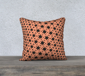 The Denise Reversible Pillow in Coral and Teal-Clash Patterns