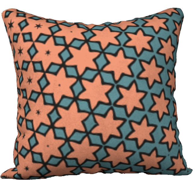 The Denise Reversible Pillow in Coral and Teal