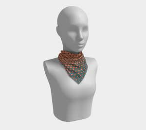 The Denise Square Scarf in Coral and Teal
