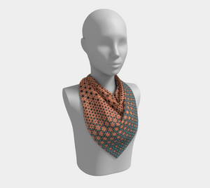 The Denise Square Scarf in Coral and Teal-Clash Patterns