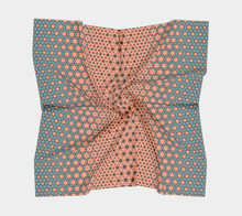 Load image into Gallery viewer, The Denise Square Scarf in Coral and Teal-Clash Patterns