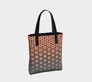 The Denise Tote Bag in Coral and Teal-Clash Patterns
