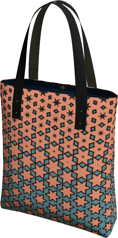The Denise Tote Bag in Coral and Teal
