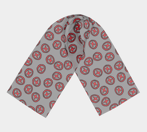 The Edith Long Scarf in Grey and Red