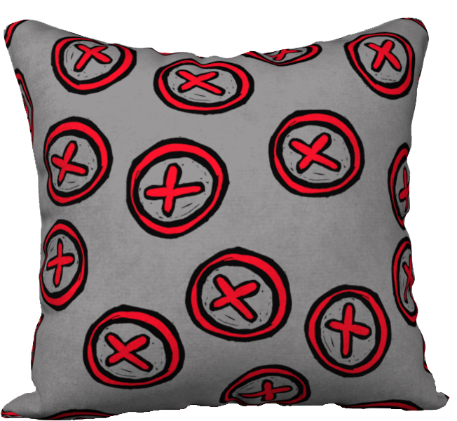 The Edith Pillow in Grey and Red