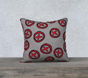 The Edith Pillow in Grey and Red-Clash Patterns