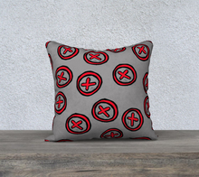 Load image into Gallery viewer, The Edith Pillow in Grey and Red-Clash Patterns