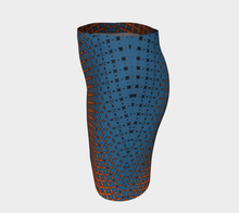 Load image into Gallery viewer, The Erin Fitted Dress in Blue and Orange-Clash Patterns