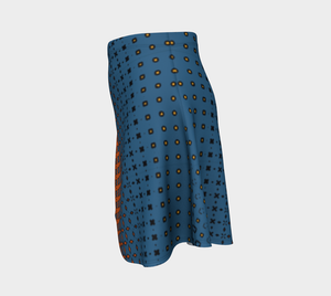 The Erin Flare Dress in Blue and Orange-Clash Patterns