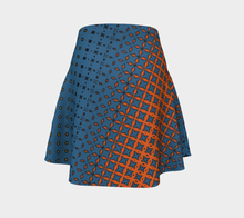 Load image into Gallery viewer, The Erin Flare Dress in Blue and Orange-Clash Patterns