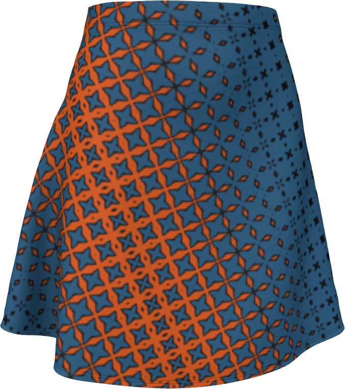 The Erin Flare Dress in Blue and Orange