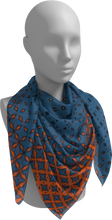 Load image into Gallery viewer, The Erin Square Scarf in Blue and Orange-Square Scarf-Clash Patterns by Jennifer Akkermans
