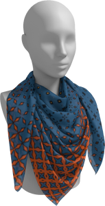 The Erin Square Scarf in Blue and Orange-Square Scarf-Clash Patterns by Jennifer Akkermans