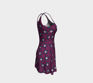 The Evangeline Flare Dress in Raspberry-Clash Patterns