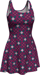 The Evangeline Flare Dress in Raspberry