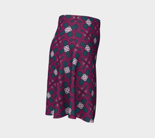 Load image into Gallery viewer, The Evangeline Flare Skirt in Raspberry-Clash Patterns