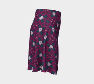 The Evangeline Flare Skirt in Raspberry-Clash Patterns