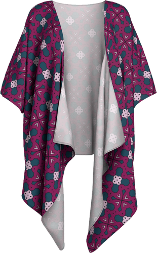 The Evangeline Kimono in Raspberry-Draped Kimono-Clash Patterns by Jennifer Akkermans