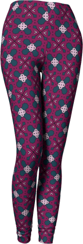 The Evangeline Leggings in Raspberry-Leggings-Clash Patterns by Jennifer Akkermans