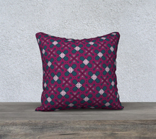 Load image into Gallery viewer, The Evangeline Reversible Pillow in Raspberry-Clash Patterns
