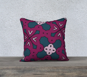 The Evangeline Reversible Pillow in Raspberry-Clash Patterns