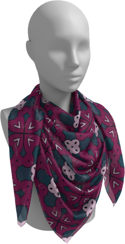 The Evangeline Square Scarf in Raspberry-Square Scarf-Clash Patterns by Jennifer Akkermans