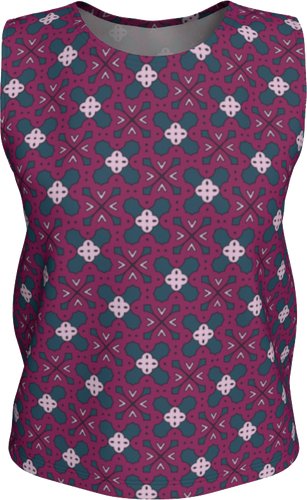 The Evangeline Tank Top in Raspberry-Loose Tank Top (Regular)-Clash Patterns by Jennifer Akkermans
