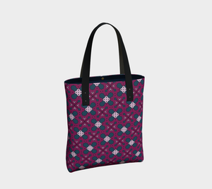 The Evangeline Tote Bag in Raspberry-Clash Patterns