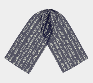 The Evelyn Long Scarf in Navy-Clash Patterns