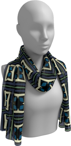 The Gia Long Scarf in Purple and Blue-Long Scarf-Clash Patterns by Jennifer Akkermans