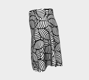 The Gnocchi Flare Skirt in Black and White-Clash Patterns