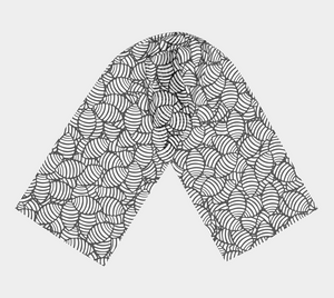 The Gnocchi Long Scarf in Black and White-Clash Patterns