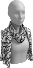 Load image into Gallery viewer, The Gnocchi Long Scarf in Black and White-Long Scarf-Clash Patterns by Jennifer Akkermans