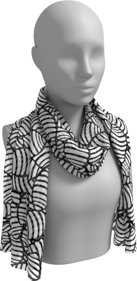 The Gnocchi Long Scarf in Black and White-Long Scarf-Clash Patterns by Jennifer Akkermans