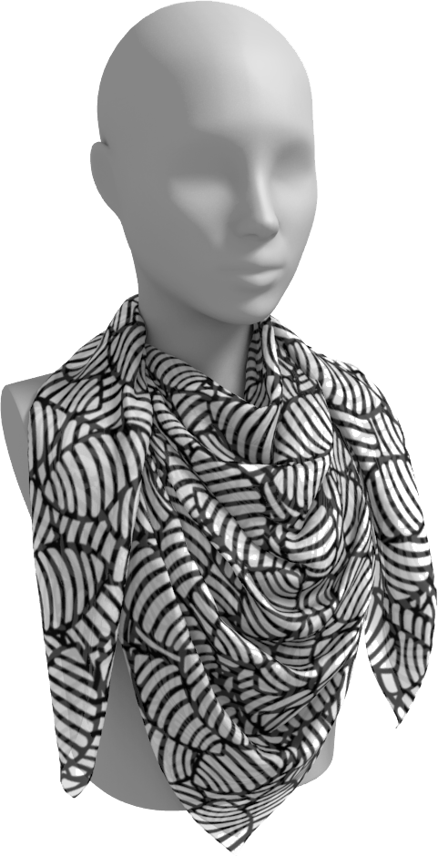 The Gnocchi Square Scarf in Black and White-Square Scarf-Clash Patterns by Jennifer Akkermans
