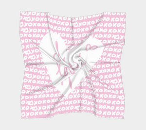 The I Love You Square Scarf in Pink-Clash Patterns