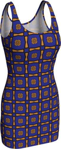 The Jacqueline Fitted Dress in Navy and Ochre-Bodycon Dress-Clash Patterns by Jennifer Akkermans