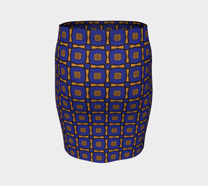 The Jacqueline Fitted Skirt in Navy and Ochre-Clash Patterns