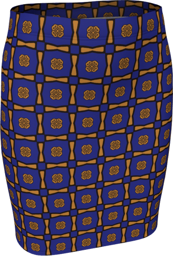 The Jacqueline Fitted Skirt in Navy and Ochre-Fitted Skirt-Clash Patterns by Jennifer Akkermans